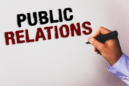 Word writing text Public Relations. Business concept for Communication Media People Information Publicity Social Text white background board hand black marker meeting teacher school work