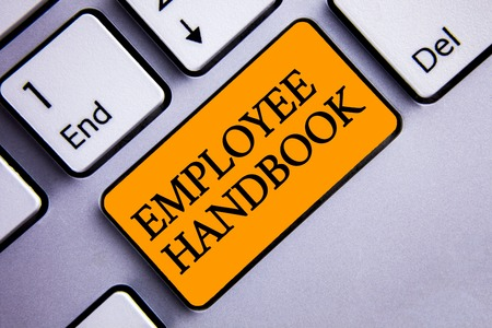 Conceptual hand writing showing Employee Handbook. Business photo text Document Manual Regulations Rules Guidebook Policy Code Text two words orange insert button key press grey computer Stock Photo