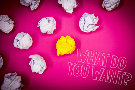 Writing note showing  What Do You Want Question. Business photo showcasing Aspiration Contemplation Need Contemplate Aspire Pink ground white paper lumps shadow yellow lob outline letters Stock Photo
