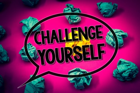 Handwriting text Challenge Yourself. Concept meaning Overcome Confidence Strong Encouragement Improvement Dare Huge emerald paper lobs surroundes yellow paper ball magenta color floor