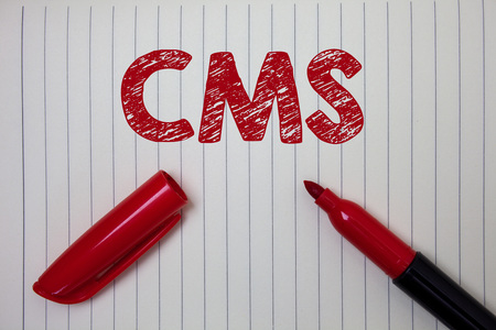 Word writing text Cms. Business concept for Content Management System supports modification of digital content Notebook paper background open marker ideas messages inspiration thoughts