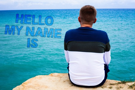 Handwriting text writing Hello My Name Is. Concept meaning Introduce yourself meeting someone new Presentation Sea remember blue beach water sky natural scene landscape message idea