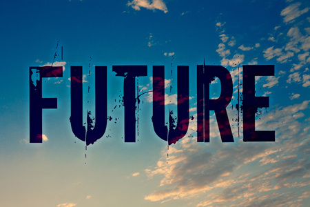 Text sign showing Future. Conceptual photo Period of time following the present moment Events that will happen Ideas messages blue clouds cloudy sky splatters natural motivational 免版税图像