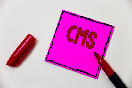 Conceptual hand writing showing Cms. Business photo showcasing Content Management System supports modification of digital content Pink note open marker communicate feelings things to do