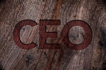 Writing note showing  Ceo. Business photo showcasing Chief Executive Officer Head Boss Chairperson Chairman Controller Wooden background vintage wood board wild rough old antique messages Stok Fotoğraf