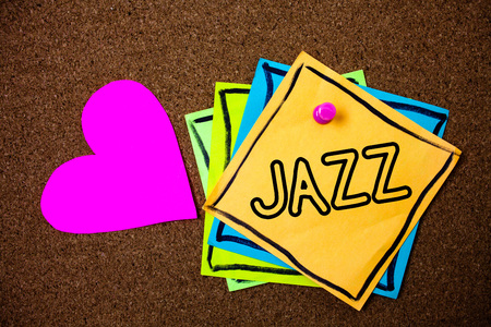 Word writing text Jazz. Business concept for Type of music of black American origin Musical genre Strong rhythm Ideas messages paper pink heart cork background love lovely thoughts