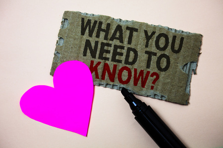 Text sign showing What You Need To Know Question. Conceptual photo Education develops your knowledge and skills Brown paperboard rough ideas message heart wild love lovely intentions