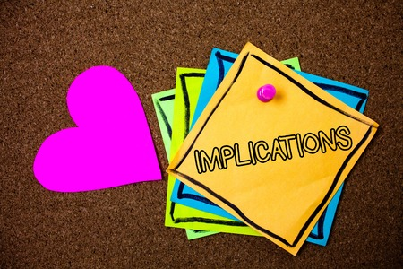 Word writing text Implications. Business concept for Conclusion State of being involved Suggestion Insinuation Hint Ideas messages paper pink heart cork background love lovely thoughts