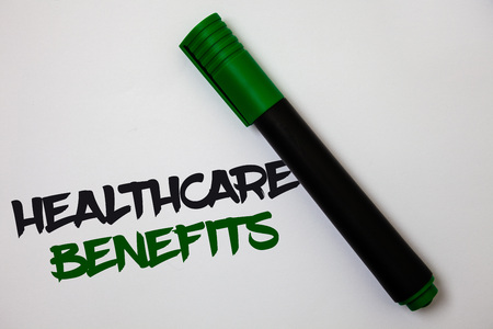 Conceptual hand writing showing Healthcare Benefits. Business photo text it is insurance that covers the medical expenses White background marker pen lovely thoughts message idea memories Archivio Fotografico