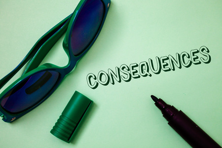 Writing note showing  Consequences. Business photo showcasing Result Outcome Output Upshot Difficulty Ramification Conclusion Ideas messages white background open marker sunglasses communicate