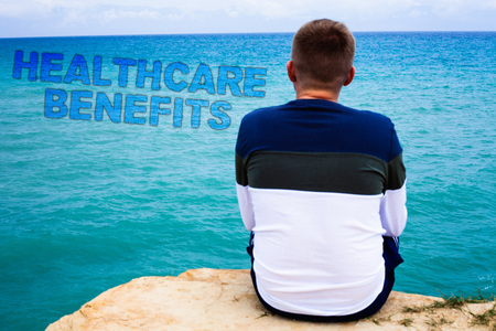Handwriting text writing Healthcare Benefits. Concept meaning it is insurance that covers the medical expenses Sea remember blue beach water sky natural scene landscape message idea Archivio Fotografico