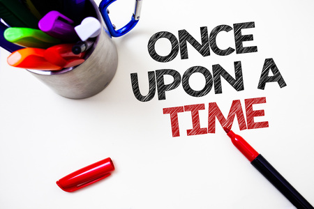 Text sign showing Once Open A Time. Conceptual photo telling story Fairytale story Historical event Novel Pen white background grey shadow important temple lovely message idea