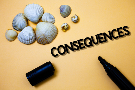 Conceptual hand writing showing Consequences. Business photo text Result Outcome Output Upshot Difficulty Ramification Conclusion Yellow background shadow open marker shells beach memory memories 스톡 콘텐츠