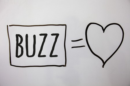 Conceptual hand writing showing Buzz. Business photo showcasing Hum Murmur Drone Fizz Ring Sibilation Whir Alarm Beep Chime Ideas messages heart white background intentions feelings