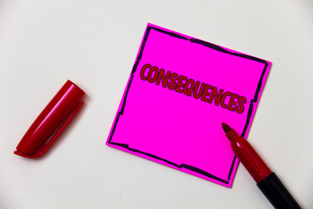Conceptual hand writing showing Consequences. Business photo showcasing Result Outcome Output Upshot Difficulty Ramification Conclusion Pink note open marker communicate feelings things to do