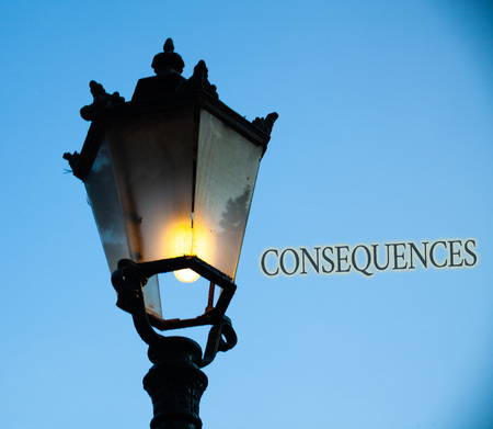 Conceptual hand writing showing Consequences. Business photo text Result Outcome Output Upshot Difficulty Ramification Conclusion Light post blue sky enlighten ideas old vintage antique Victorian