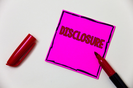Conceptual hand writing showing Disclosure. Business photo showcasing The action of making New or Secret Confidential information known Pink note open marker communicate feelings things to do Stock Photo
