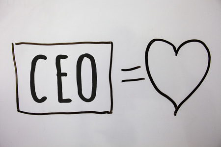 Conceptual hand writing showing Ceo. Business photo showcasing Chief Executive Officer Head Boss Chairperson Chairman Controller Ideas messages heart white background intentions feelings Stok Fotoğraf