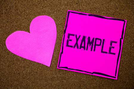 Handwriting text writing Example. Concept meaning Illustration Sample Model to follow Guide Explanation For instance Cork background pink paper papers ideas messages heart love lovely inspire Stok Fotoğraf