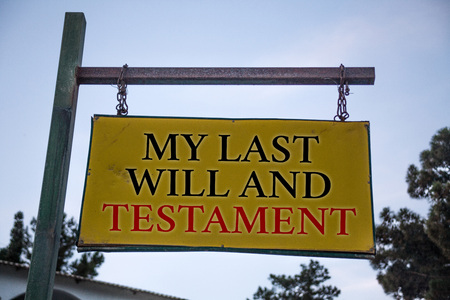 Handwriting text My Last Will And Testament. Concept meaning List of things to be made after his or her death Messages object location yellow banner frame metal board billboard yellow