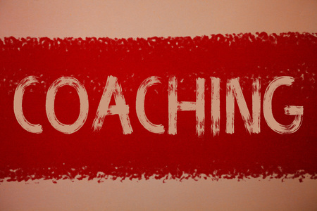 Text sign showing Coaching. Conceptual photo Prepare Enlightened Cultivate Sharpening Encourage Strenghten Ideas messages red paint painting light brown background messy intentions