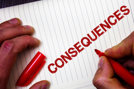 Conceptual hand writing showing Consequences. Business photo showcasing Result Outcome Output Upshot Difficulty Ramification Conclusion Man hold holding marker paper thoughts messages intentions