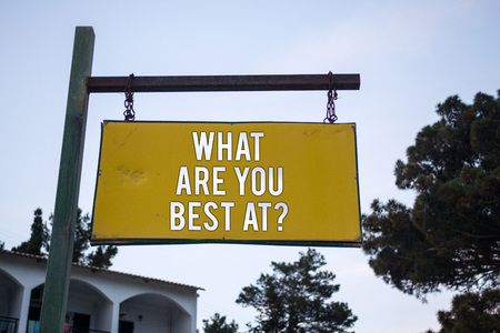 Word writing text What Are You Best At Question. Business concept for Individual creativity is a unique capability Wooden board hang hanging post ideas messages feelings trees blue sky