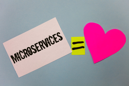 Handwriting text writing Microservices. Concept meaning Software development technique Decomposing an application Equal symbol sticky notes heart love plane coloured background calculation