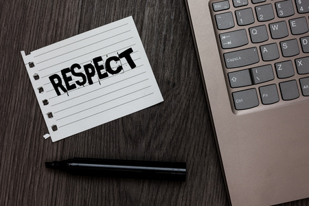 Word writing text Respect. Business concept for Feeling of deep admiration for someone or something Appreciation Laptop nice computer notebook netbook pen small pitch paper pen wood Stock Photo