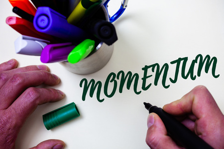 Word writing text Momentum. Business concept for Quantity motion in moving body Product of mass and velocity Artist study library colourful pen bunch handwritten beautiful script Imagens