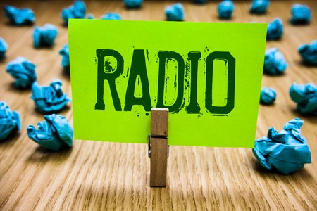 Word writing text Radio. Business concept for Electronic equipment used for listening to broadcasts programs shows Paper cyan object thoughts crumpled papers ideas mistakes several tries Фото со стока