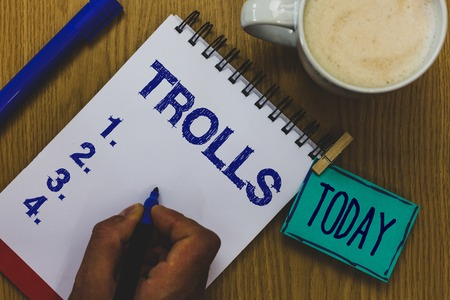 Handwriting text Trolls. Concept meaning Online troublemakers posting provocative inflammatory messages Mug coffee paper marker pens nice art clip paperclip daily wordlists