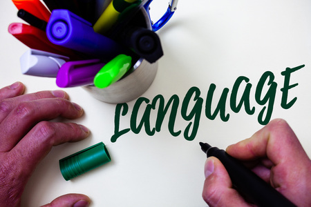 Word writing text Language. Business concept for Method of human communication Spoken Written Use Words Expression Artist study library colourful pen bunch handwritten beautiful script