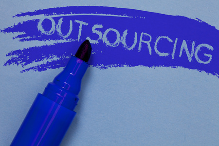 Writing note showing Outsourcing. Business photo showcasing Obtain goods or service by contract from an outside supplier Bold blue marker colouring sketch work type idea text plain background Stock Photo