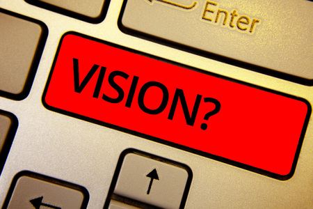 Text sign showing Vision Question. Conceptual photo Company commitment describing future realistic state Keyboard brown keys yellow laptop idea create computer keypad laptop