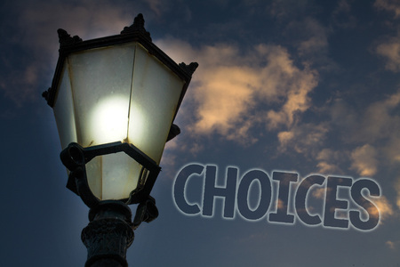 Conceptual hand writing showing Choices. Business photo showcasing Preference Discretion Inclination Distinguish Options Selection Light post blue sky enlighten ideas message feelings thought Stok Fotoğraf