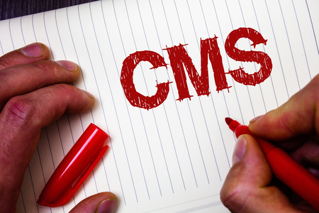 Conceptual hand writing showing Cms. Business photo showcasing Content Management System supports modification of digital content Man hold holding marker paper thoughts messages intentions
