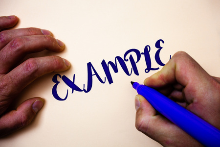 Conceptual hand writing showing Example. Business photo showcasing Illustration Sample Model to follow Guide Explanation For instance Man holding blue marker white background ideas inspiration