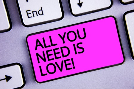 Handwriting text All You Need Is Love Motivational. Concept meaning Deep affection needs appreciation romance Keyboard purple key Intention create text computer message paper essay