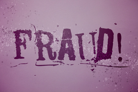 Conceptual hand writing showing Fraud Motivational Call. Business photo text Criminal deception to get financial or personal gain Ideas messages purple background splatters inspiration communicate