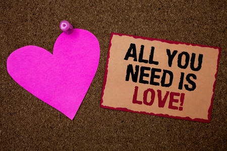 Conceptual hand writing showing All You Need Is Love Motivational. Business photo showcasing Deep affection needs appreciation romance Brown rug Ideas message pink heart love feelings thoughts Stock Photo
