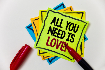 Writing note showing  All You Need Is Love Motivational. Business photo showcasing Deep affection needs appreciation romance Pen marker ideas markers message communicate inform feelings thoughts