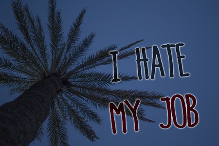 Text sign showing I Hate My Job. Conceptual photo Hating your position Disliking your company Bad career Tree palm sky blue natural scene landscape love message memories beautiful 写真素材