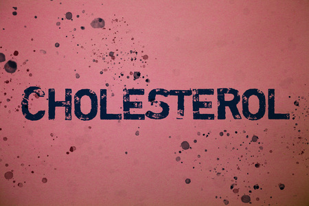 Handwriting text Cholesterol. Concept meaning Low Density Lipoprotein High Density Lipoprotein Fat Overweight Ideas messages pink background splatters messy paint communicate feelings 写真素材