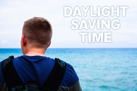 Text sign showing Daylight Sayving Time. Conceptual photo advancing clocks during summer to save electricity Blue beach water Messages Ideas Thoughts sky human natural beautiful
