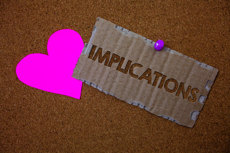 Conceptual hand writing showing Implications. Business photo text Conclusion State of being involved Suggestion Insinuation Hint Brown old damaged paperboard ideas pink heart cork background Stock Photo