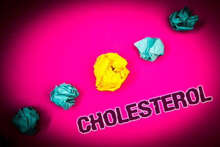 Text sign showing Cholesterol. Conceptual photo Low Density Lipoprotein High Density Lipoprotein Fat Overweight Ideas concept pink background crumpled papers several tries trial error