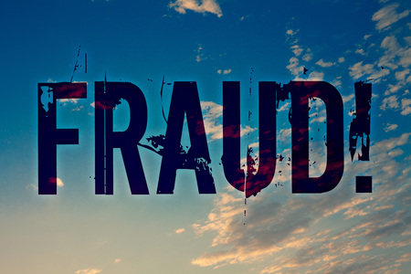 Text sign showing Fraud Motivational Call. Conceptual photo Criminal deception to get financial or personal gain Ideas messages blue clouds cloudy sky splatters natural motivational Stock Photo