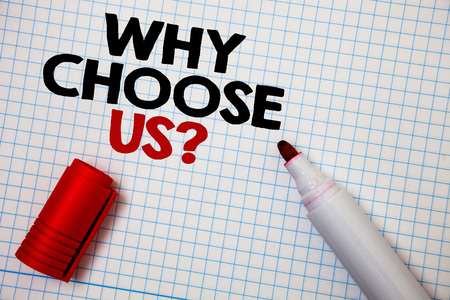 Writing note showing  Why Choose Us Question. Business photo showcasing reasons that you are best showing possibilities Graph paper grey important thoughts idea information science math data Banque d'images