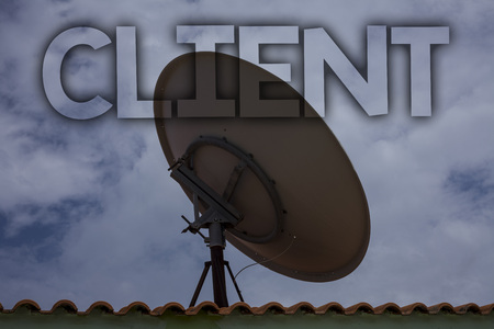 Conceptual hand writing showing Client. Business photo text Purchaser Customer Shopper User Patron Prospect Sharer Investor Buyer Ideas messages television antenna cloudy sky old city house